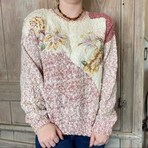 Vintage 80s Chunky Oversized Floral Sweater M L